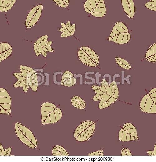 Vintage Seamless Autumn Leaves Pattern. - csp42069301