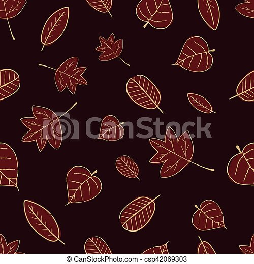 Vintage Seamless Autumn Leaves Pattern. - csp42069303