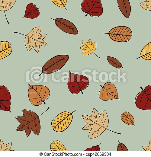 Vintage Seamless Autumn Leaves Pattern. - csp42069304
