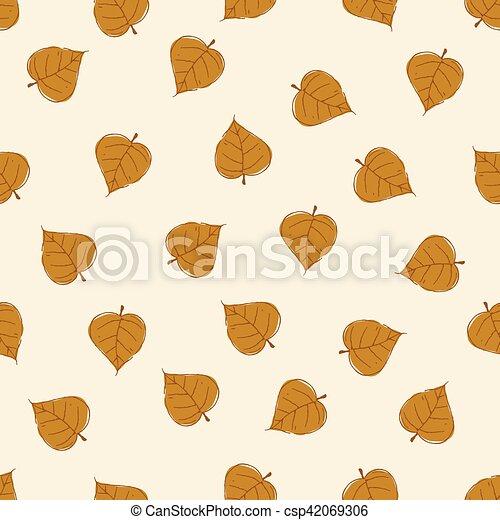 Vintage Seamless Autumn Leaves Pattern. - csp42069306