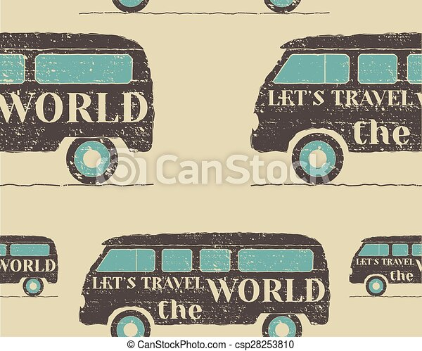 Vintage Seamless Pattern Camping Retro Rv And Motor Home Design Travel Theme Vector