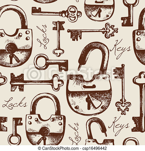 Vintage seamless pattern of hand drawn locks and keys	 - csp16496442