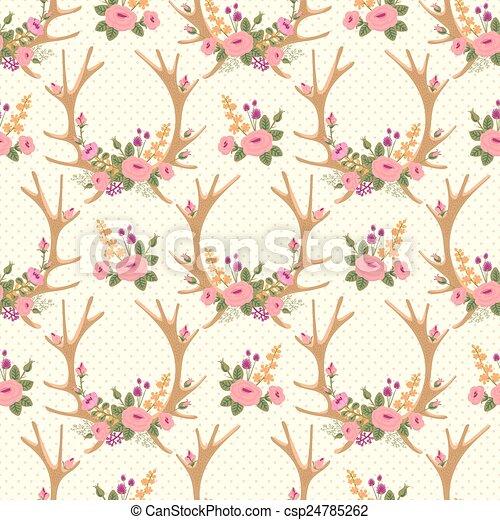 Vintage seamless pattern with deer antlers and flowers. - csp24785262