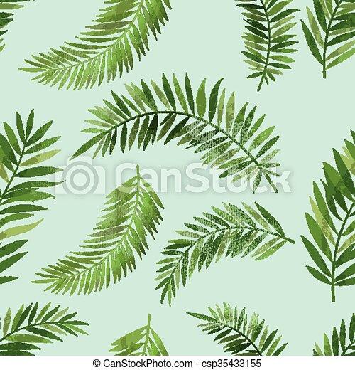 Vintage Seemless Palm Leaf Pattern - csp35433155