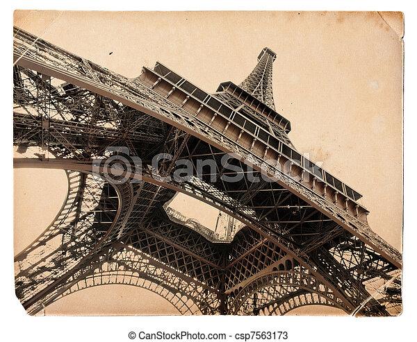 vintage sepia toned postcard of Eiffel tower in Paris  - csp7563173