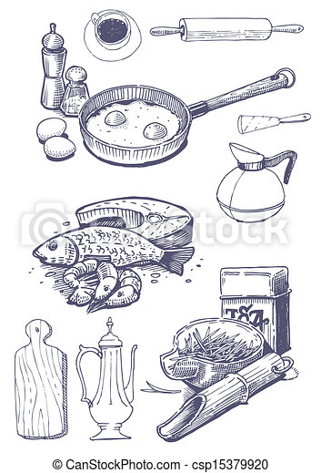 Vintage Set Of Food And Kitchen Ute Vector