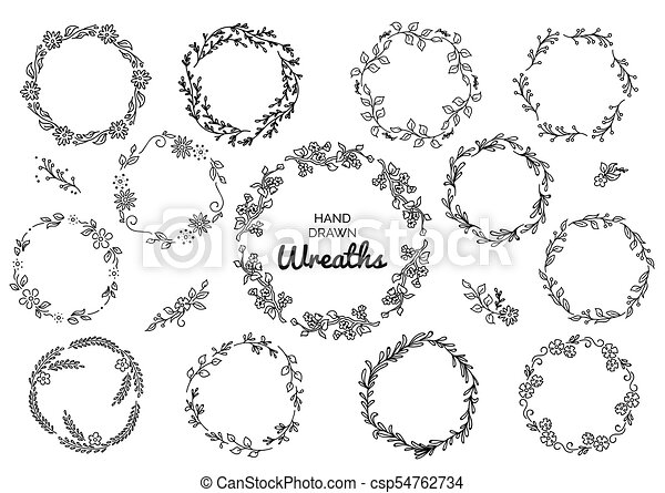 Vintage Set Of Hand Drawn Rustic Wreaths Floral Vector Graphic On White Board Nature Design Elements