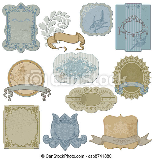 Vintage Set of Labels and Tags - in vector - csp8741880