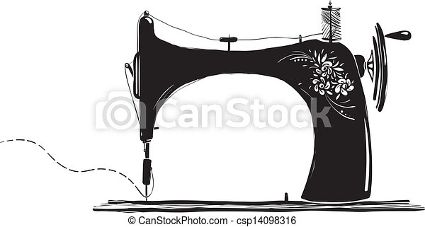 Vintage Sewing Machine Inky Illustration - csp14098316