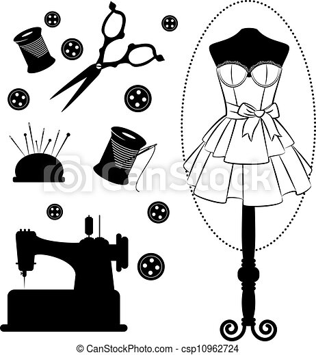 Vintage sewing related elements - csp10962724