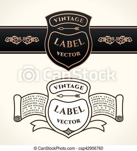 Vintage shield emblems. Crests vector logo set - csp42906760