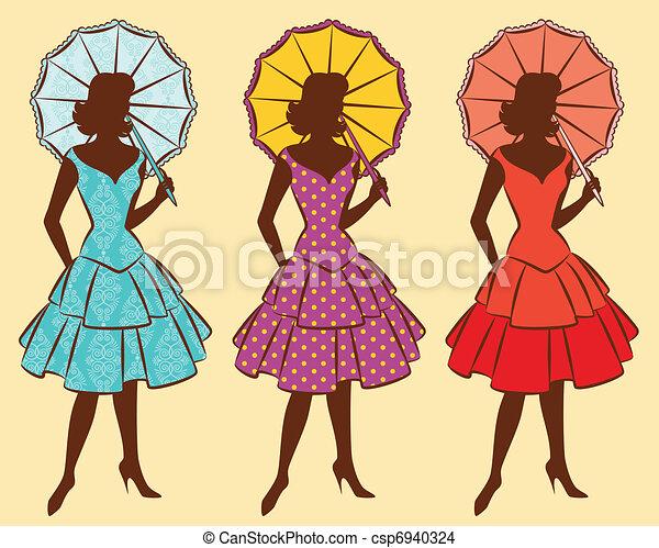 Vintage silhouette of girls. - csp6940324