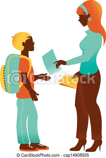 vintage silhouette of teacher and student back to school vectors rh canstockphoto com