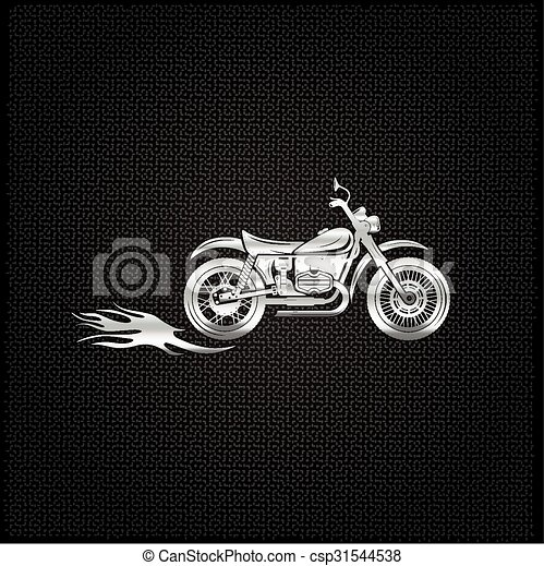 vintage silver motorcycle with flames graphic vector design template