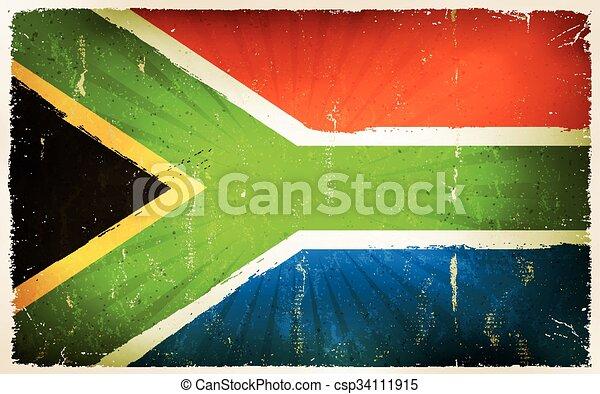 Vintage South Africa Flag Poster Background - csp34111915