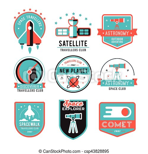 Vintage space and astronaut badges or labels set. - csp43828895
