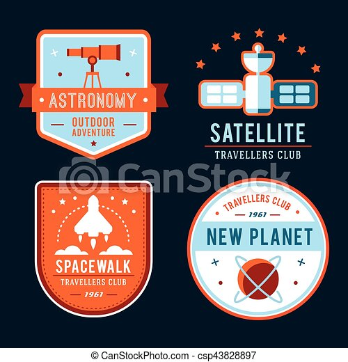 Vintage space and astronaut badges or labels set. - csp43828897