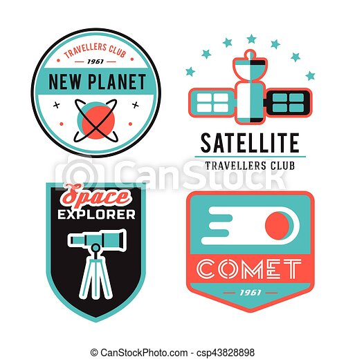 Vintage space and astronaut badges or labels set. - csp43828898