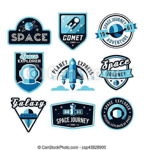 Vintage space and astronaut badges or labels set. - csp43828900