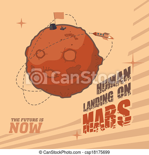 Vintage space postcard of human landing on Mars - csp18175699