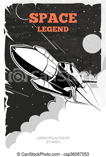 Vintage space vector poster with shuttle - csp36087053