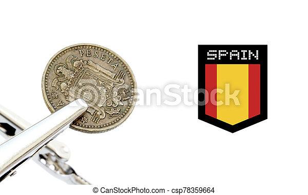 Vintage spanish coin photo detail - csp78359664