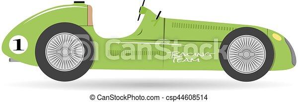 Vintage sport racing car flat formula vector vehicle auto illustration - csp44608514