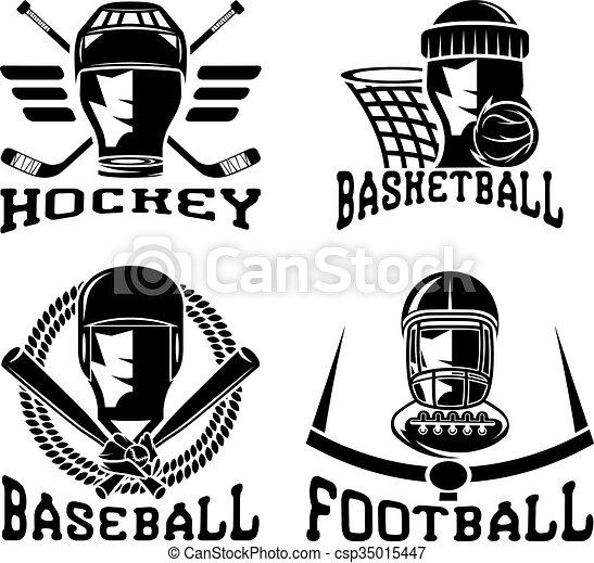vintage sport vector labels set - csp35015447