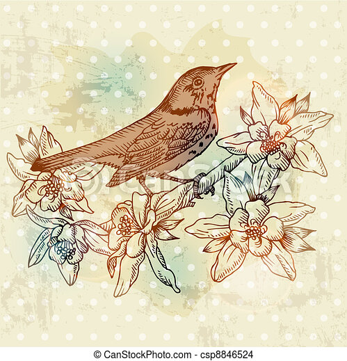 Vintage Spring Card with Bird and Flowers - hand drawn in vector - csp8846524