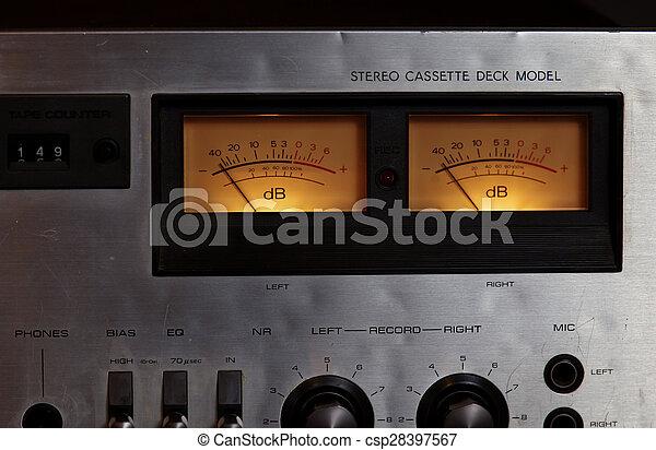 Vintage stereo cassette tape deck player recorder VU meters - csp28397567