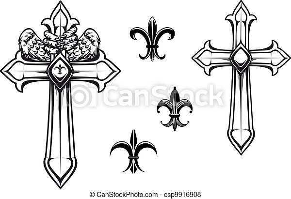 vintage stone cross with heraldic elements for design coffin clipart black and white coffin shape clipart