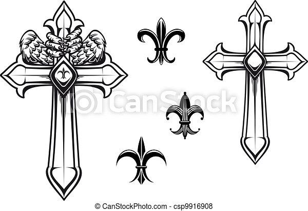 Vintage stone cross - csp9916908