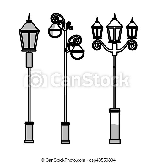 vintage street lamps icon over white background vector illustration