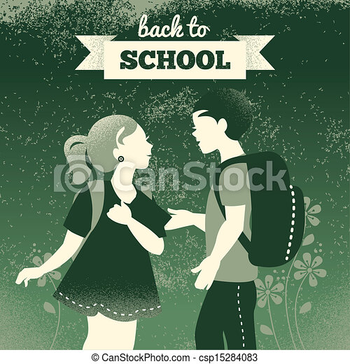 Vintage students background. School boy and girl. Back to school illustration - csp15284083