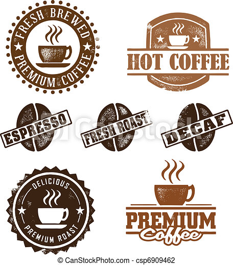 Vintage Style Coffee Stamps - csp6909462