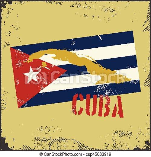 Vintage Style Cuba Map Cuba Flag Vintage Style Cuba Map Old Style - Vintage map of cuba