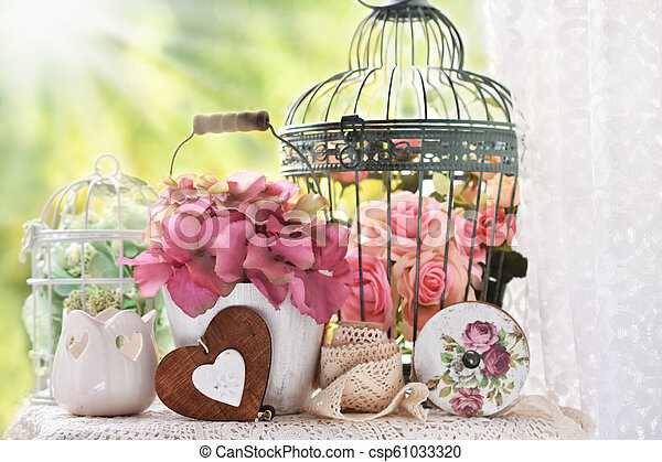 Vintage Style Decoration With Flowers And Bird Cages Vintage Style