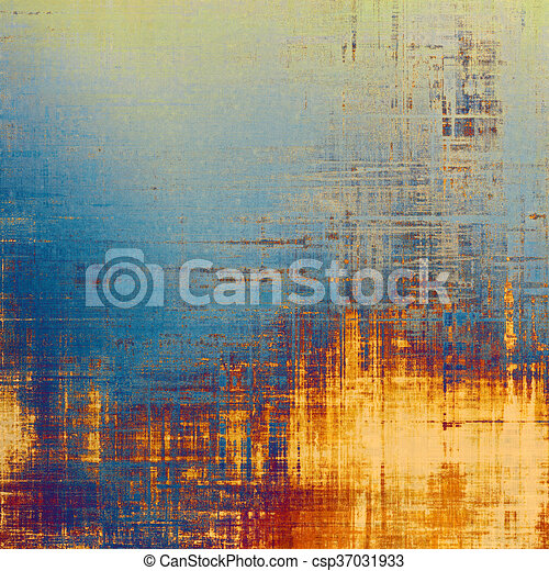 Vintage style designed background, scratched grungy texture with different color patterns: yellow (beige); blue; red (orange); purple (violet); cyan - csp37031933