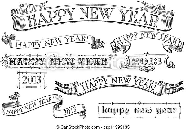 vintage style happy new year banners csp11393135