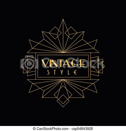 Vintage Style Logo Art Deco Design Element In Golden And Black Colors Luxury Minimal Geometric Linear Vector Illustration