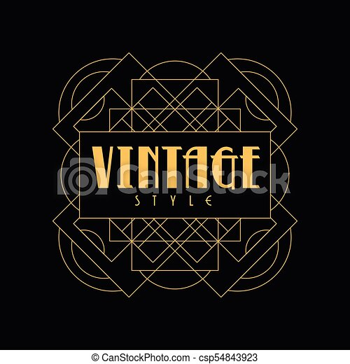 Vintage Style Logo Design Art Deco Element In Golden And Black Colors Luxury Minimal Geometric Linear Vector Illustration