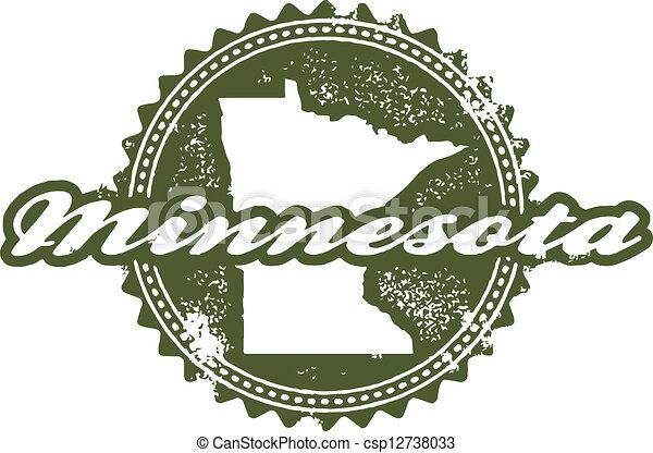 Vintage Style Minnesota State Stamp - csp12738033