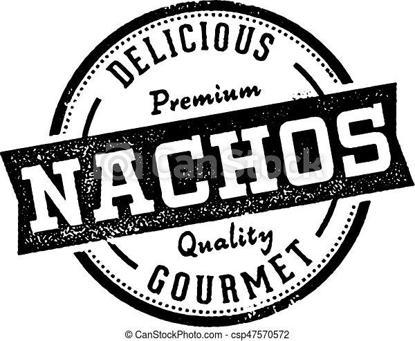 Vintage Style Nachos Mexican Menu Stamp - csp47570572