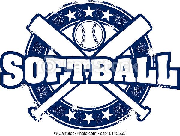 Vintage Style Softball Sport Stamp - csp10145565