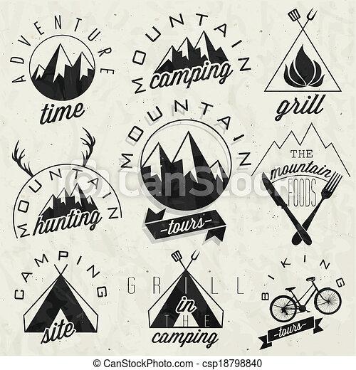 Vintage style symbols for Mountain - csp18798840