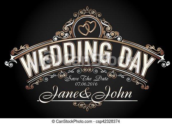 Vintage style wedding invitation template - csp42328374