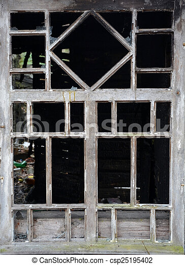 Vintage style window of the burnt house - csp25195402