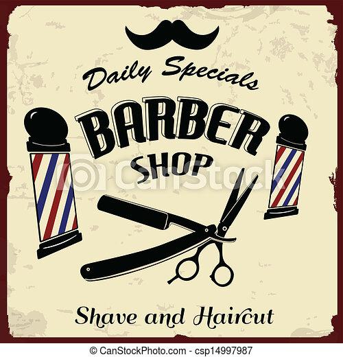 Lovely Vintage styled barber shop background, vector illustration vector  SL49