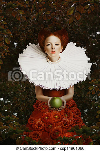 Vintage. Stylized Red Hair Woman in Retro Jabot with Green Apple - csp14961066