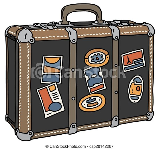 Vintage Suitcase Hand Drawing Of A Big Leather Vector
